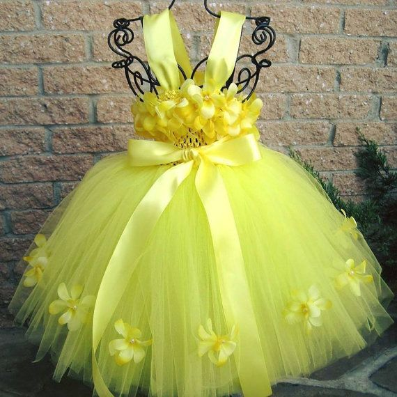 26a162eea8 YELLOW BLOSSOM FLOWERS, Yellow Tutu Dress, Flower Girl Gown, Pageant ...