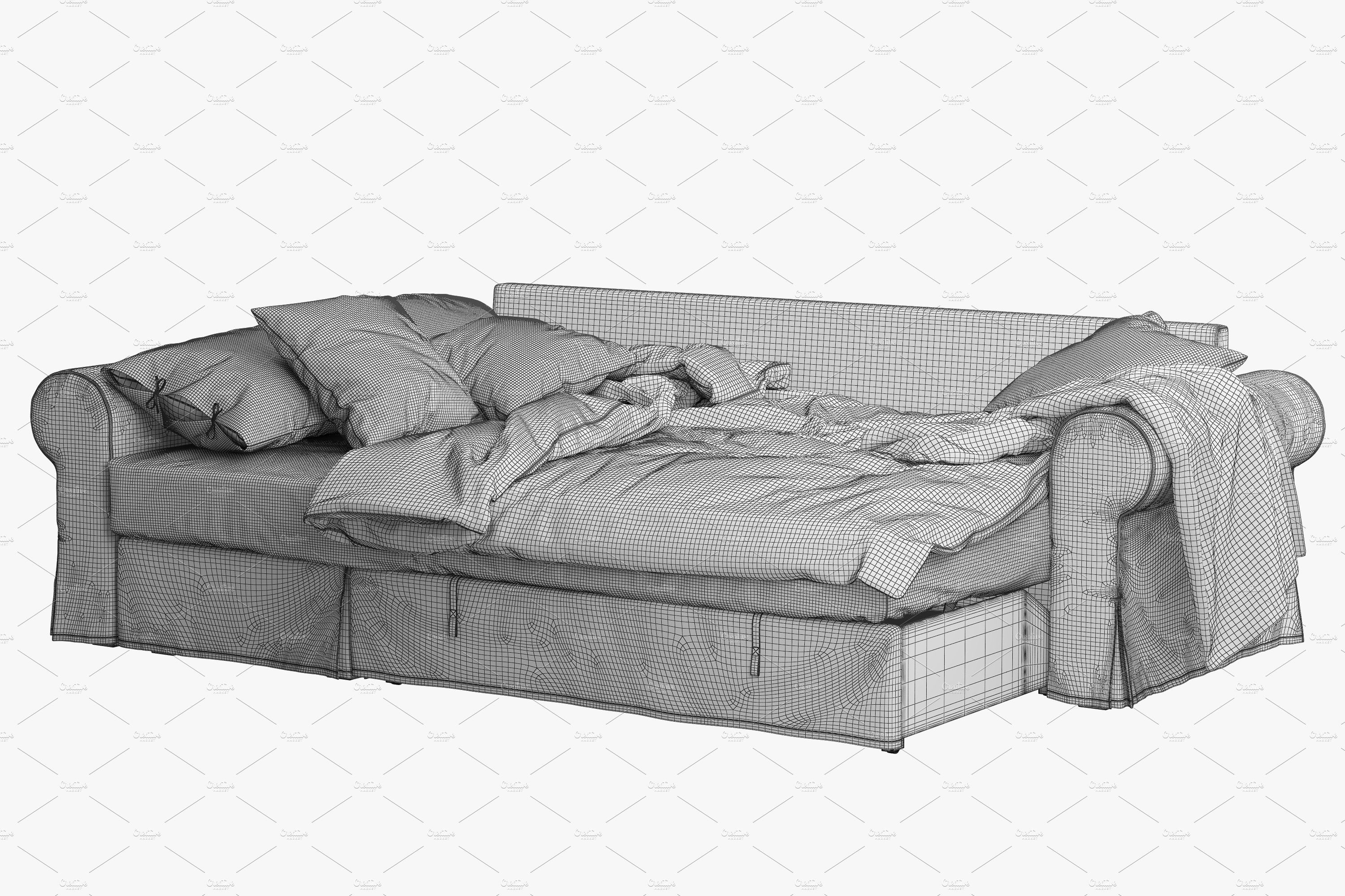 Sofa Bed 3d Model With Images Sofa Bed With Chaise Sofa Bed Sofa
