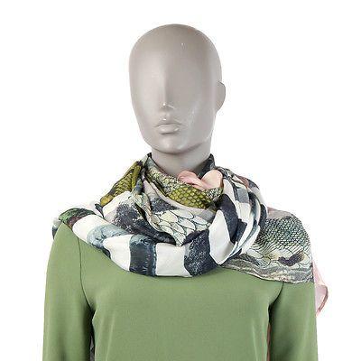 38481 auth DRIES VAN NOTEN chartreuse mauve white silk chiffon XL Shawl Scarf
