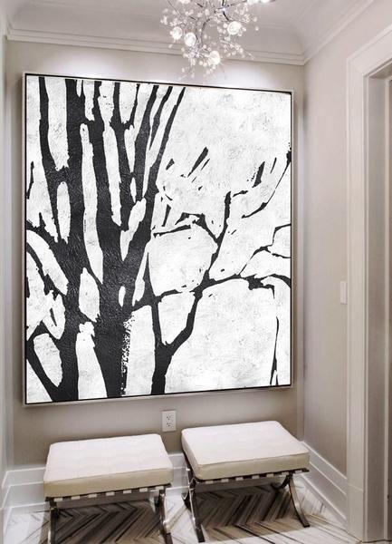 BLACK WHITE TREE ART PRINT Poster Room Decor Wall Trees Picture Artwork Outline