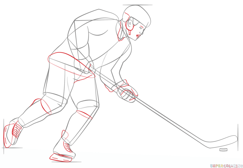 How To Draw A Hockey Player Step By Step Drawing Tutorials Hockey Girls Outfits Hockey Girl Hockey Drawing