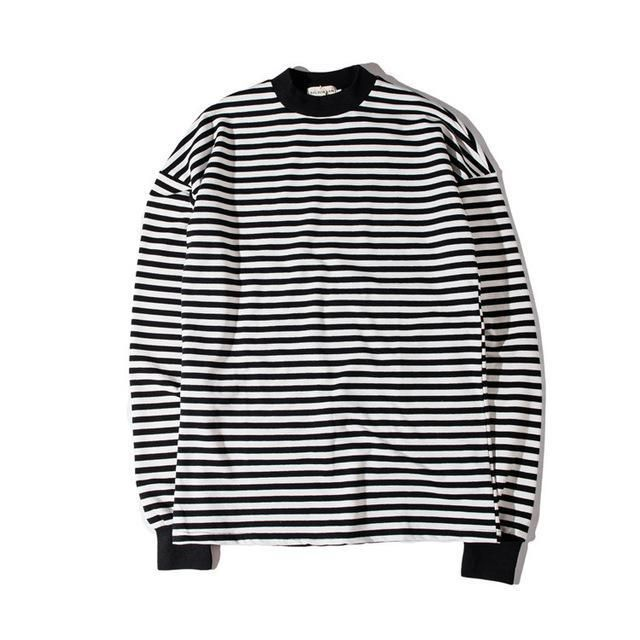 Simple Striped Crew Neck Longsleeve T-Shirt - HH77