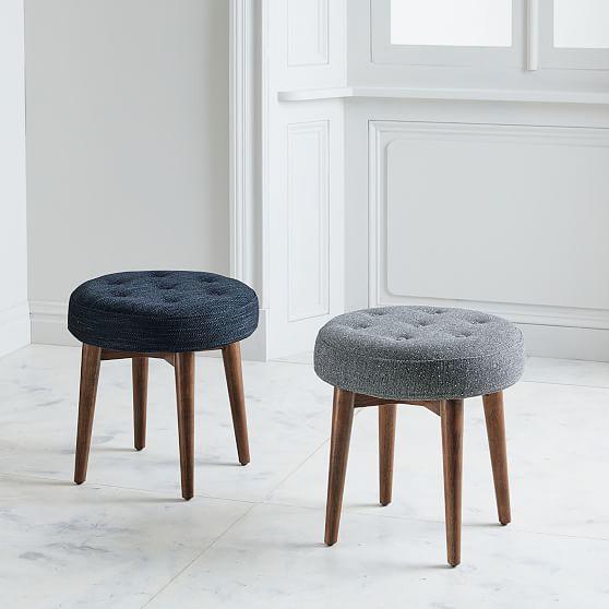 Mid Century Stools Upholstered Stool, Small Round Stools