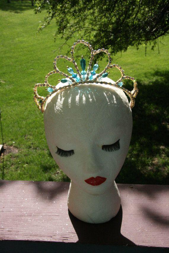 Professional Ballet Headpiece Tiara Ballerina Teal by Angamow