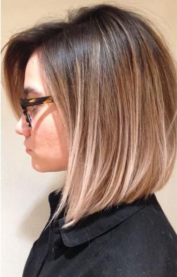 Straight Ombre Layered Lob Cute Haircut Ideas Włosy Krótkie