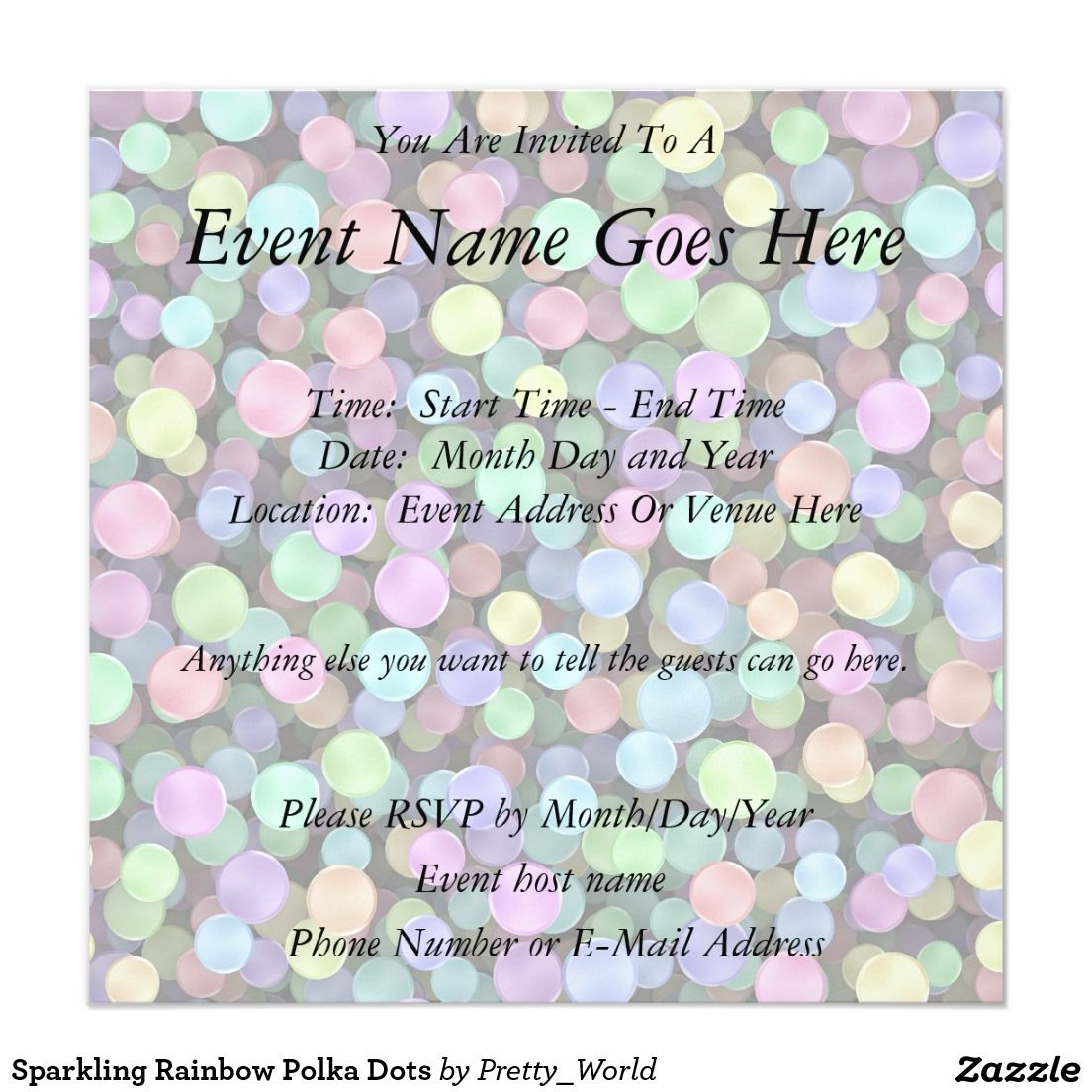 Sparkling Rainbow Polka Dots Card Wedding