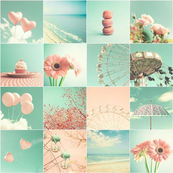 SALE Love photography girl nursery art coral nursery decor mint nursery prints french decor pink bathroom decor beach art carousel macaron~