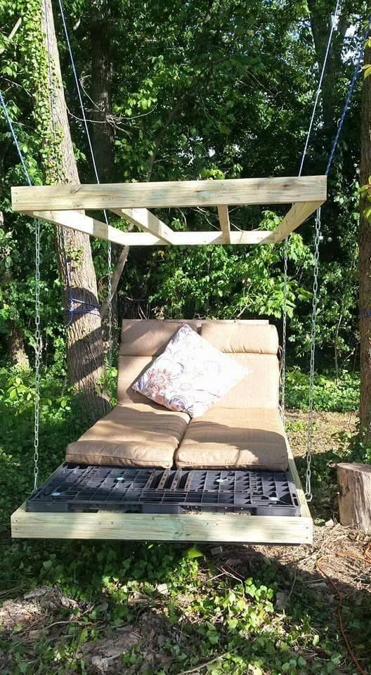 Pallet Swing Bed Diy Easy Video Instructions Lots Of Ideas Pallet Swing Beds Pallet Swing Diy Bed