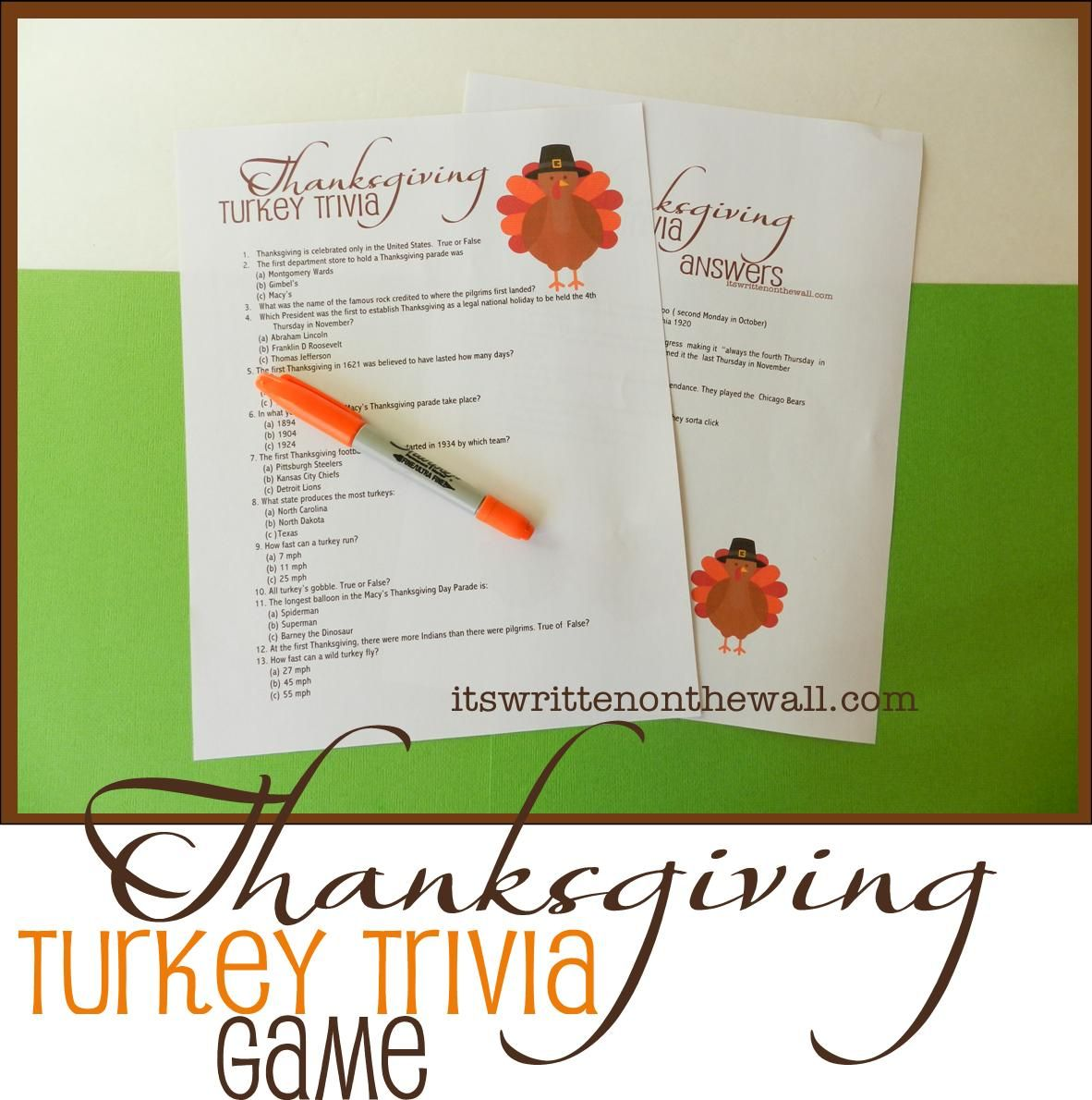 Freebie) Thanksgiving Turkey Trivia Sheet-Fun Game for the Kids ...