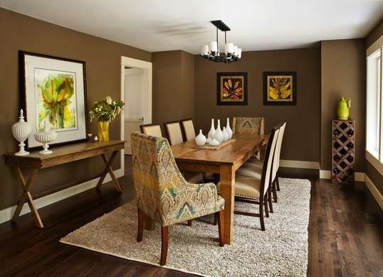 Calming And Serene Brown Paint Color Choice For The Dining Room White Ceilings Trim