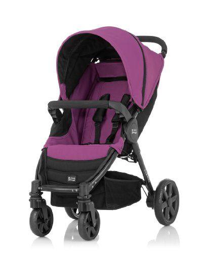 Britax B-Agile 4 - Silla de paseo con barra de seguridad, cesta y capota, color morado