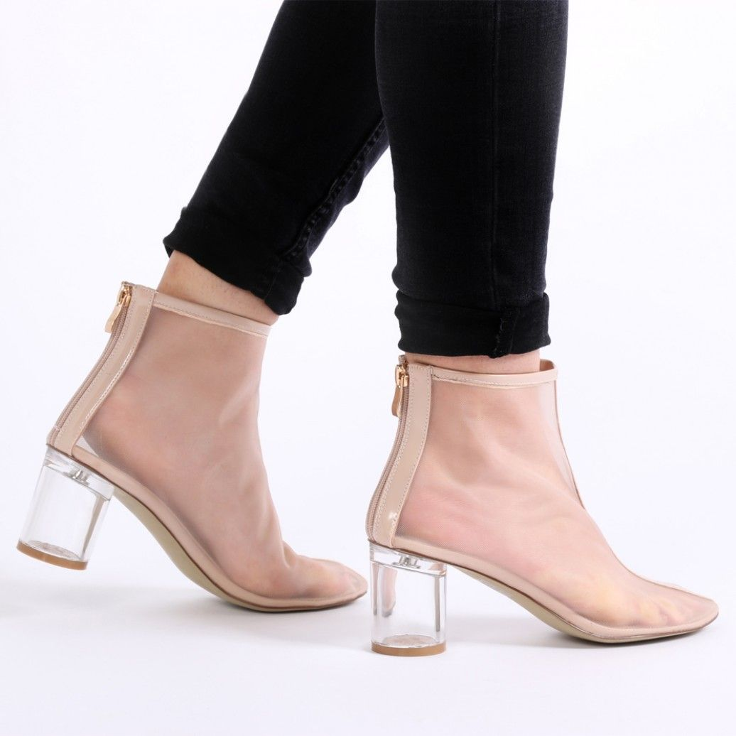 ff311a951e19 Vada Perspex Heel Mesh Boots in Nude