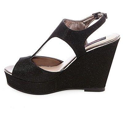 0306c3a8e8ed Women s Betseyville Ryatt Glitter Mesh Platform Wedge Sandals - Black 6