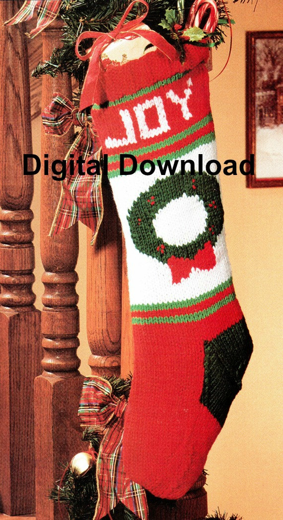 Christmas Stocking Knitting Pattern, Christmas Wreath, Vintage ...