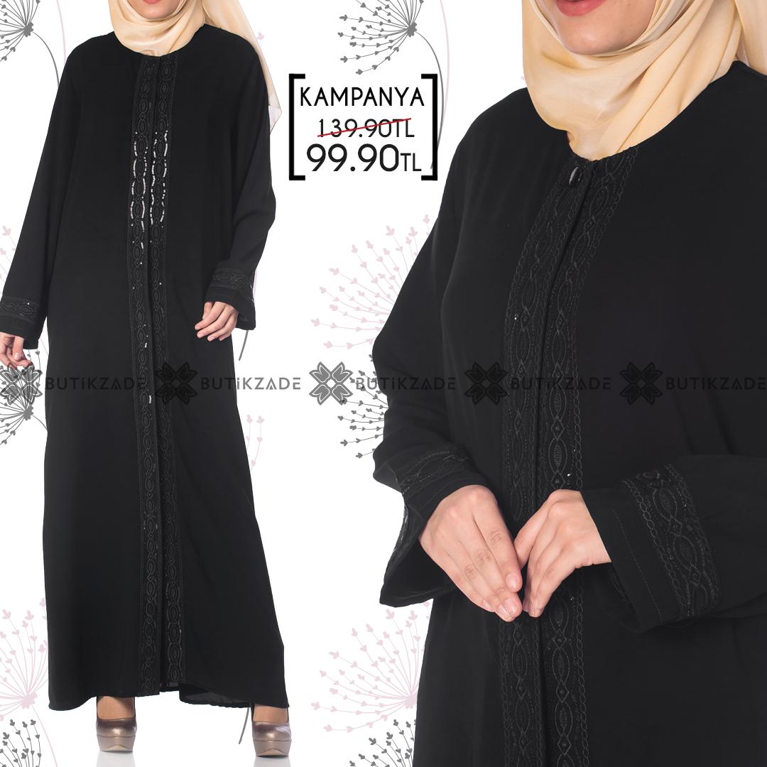 Nakisli Buyuk Beden Anne Ferace 1065 Siyah Giyim Anne Siyah