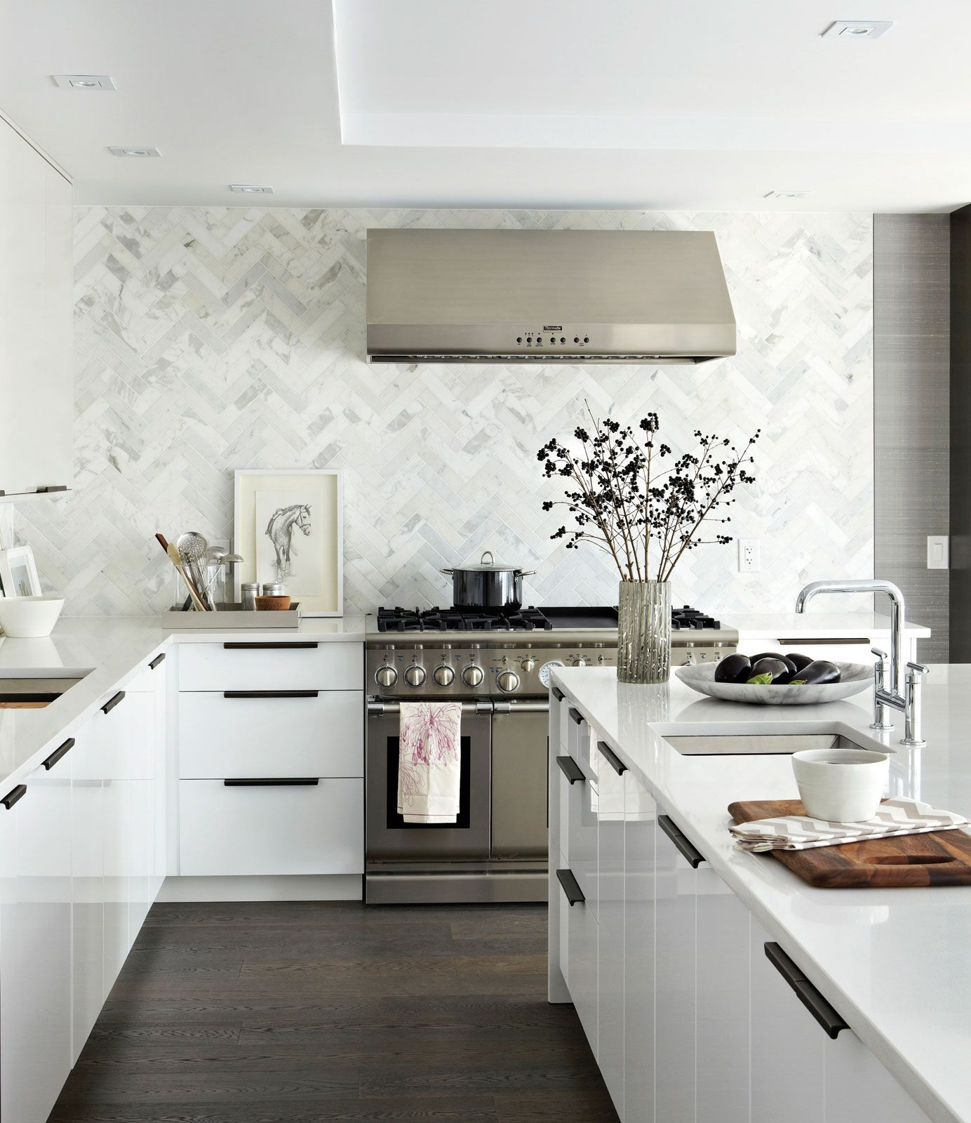 White Kitchen Bronze Hardware