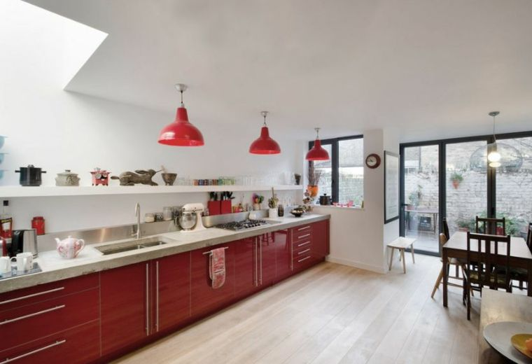 Déco cuisine rouge et blanc en 24 exemples inspirants Salons - Plan De Travail Cuisine Rouge