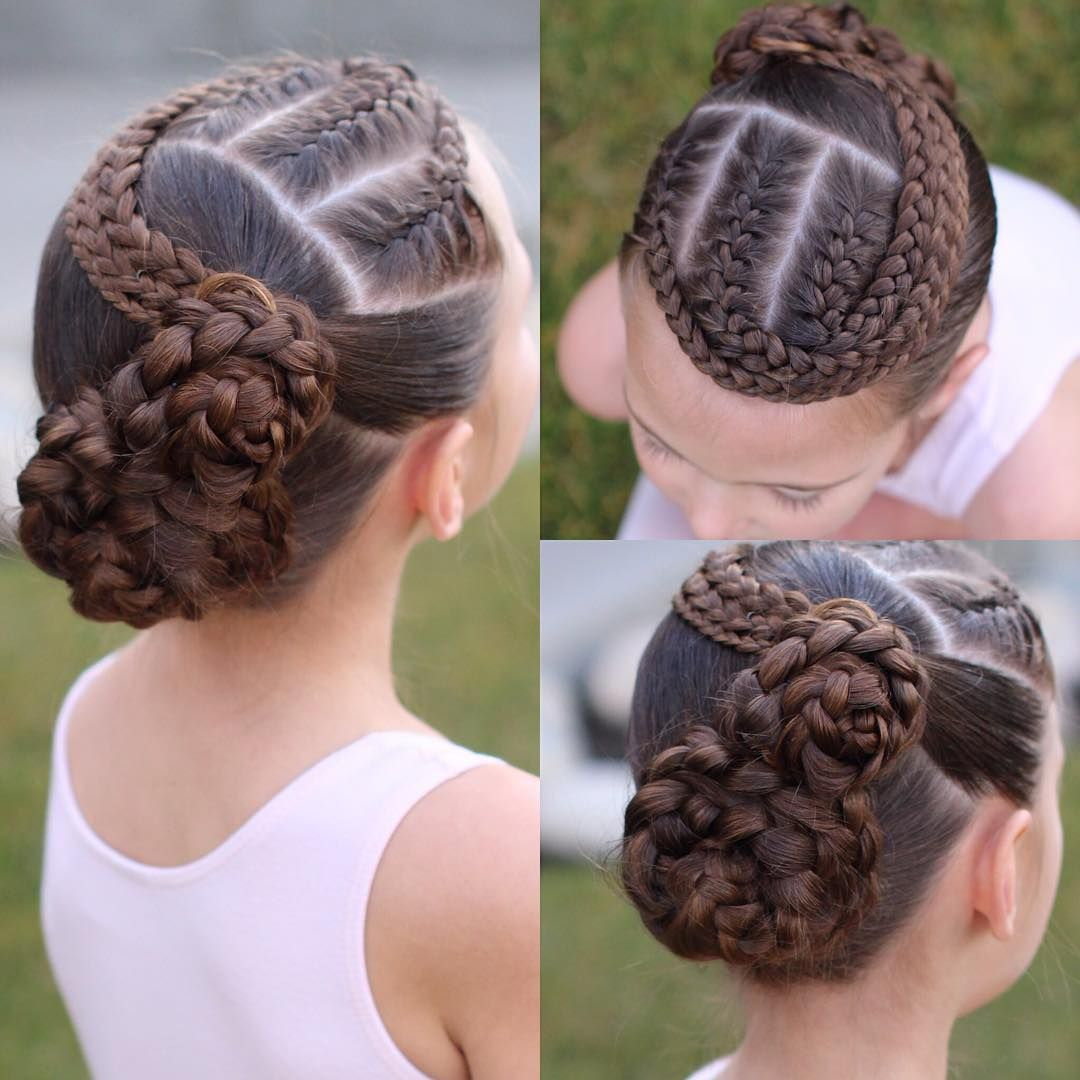 C S Dance Hair 3 French Braids To Two Flower Buns Hair Styles Dance Hairstyles Kids Hairstyles