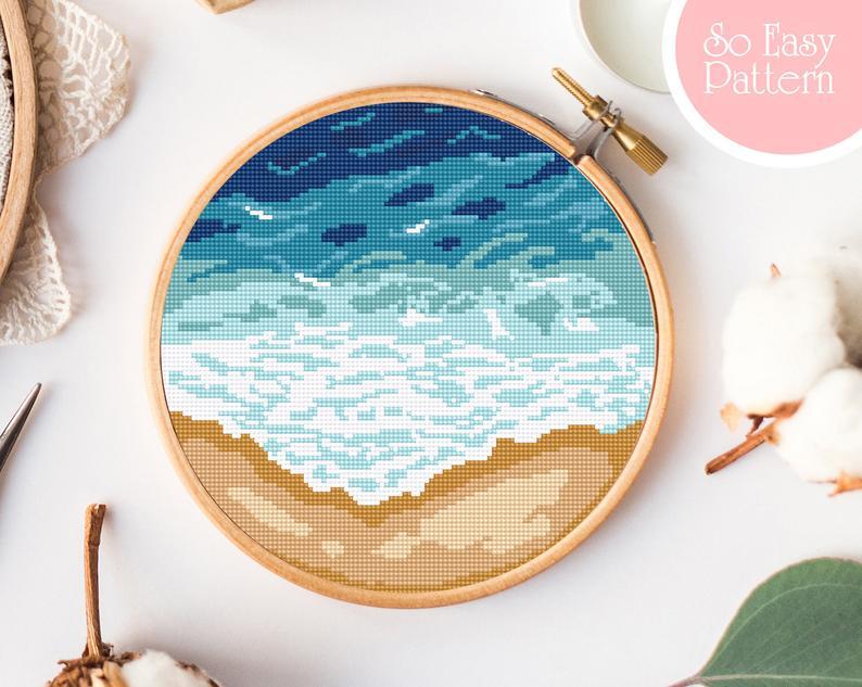 Photo of Ocean Cross Stitch pattern PDF, Modern nature cross stitch, Beach cross stitch, Sea, Nature cross stitch, Landscape cross stitch, embroidery