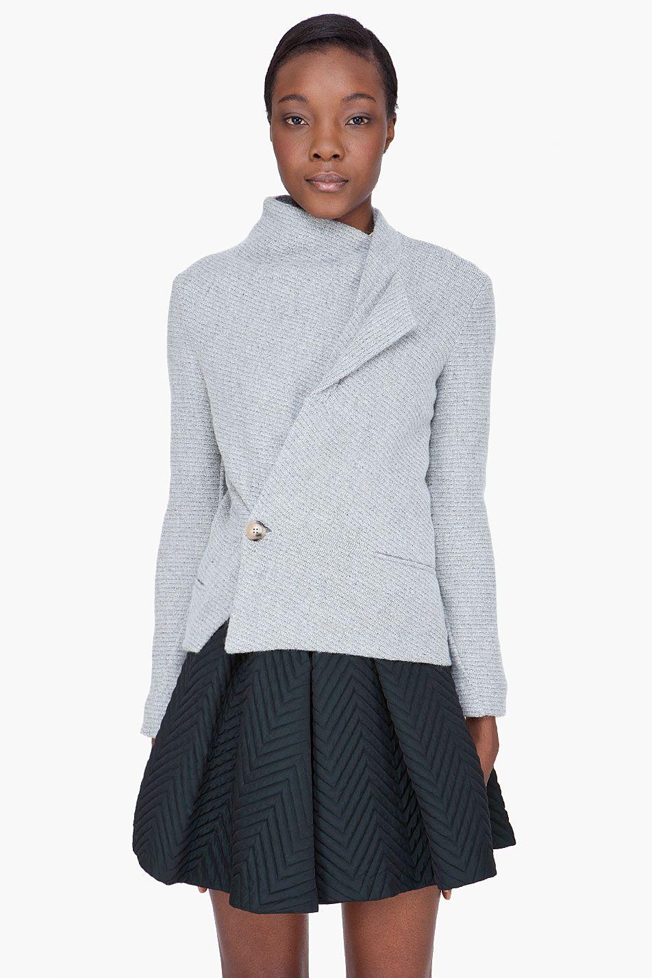 SEE BY CHLOE heather gray wool Wrap Jacket