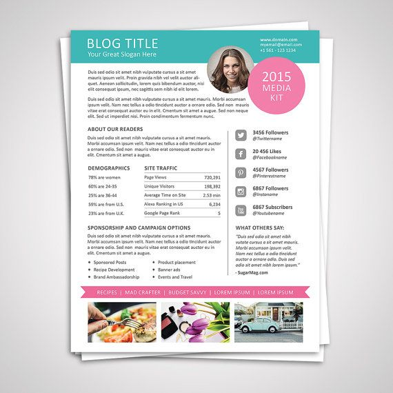 Blog Media Kit Template 01 - Ad Rate Sheet Template - Press Kit - rate sheet template
