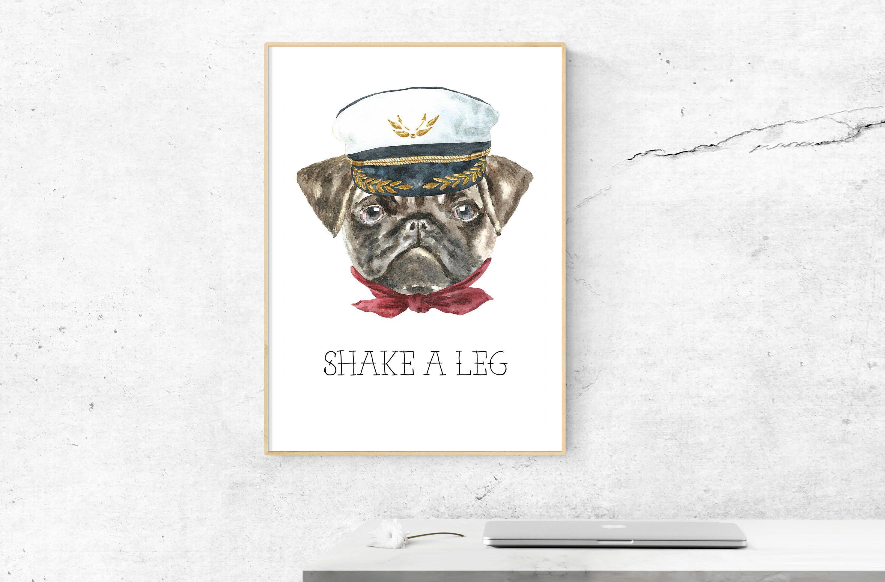 Pug Illustration Dog Poster Dog Art Print Dog Wall Art Pug
