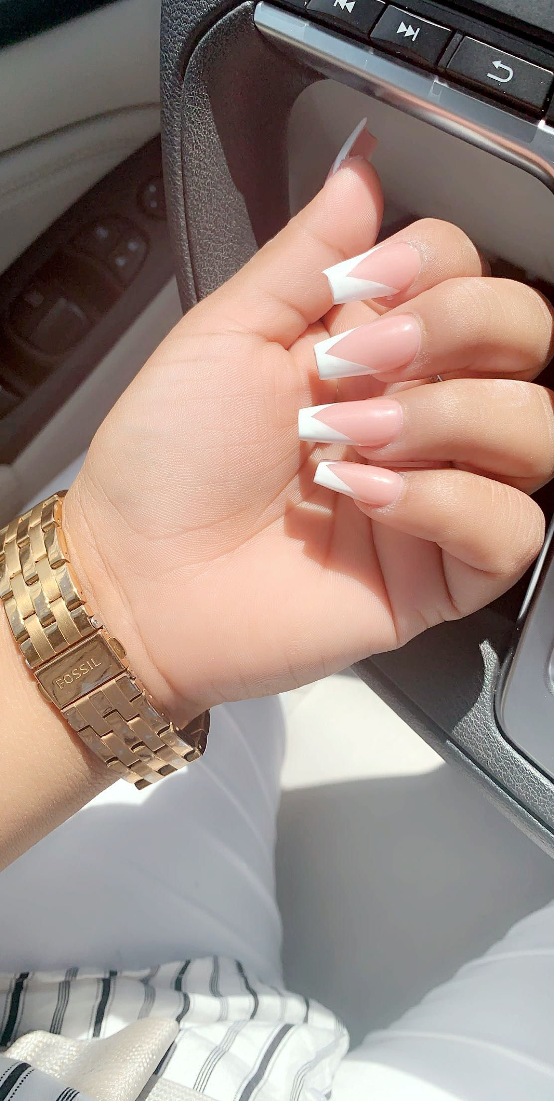 V Shape French White Tip Acrylic Nails Square Acrylic Nails French Acrylic Nails