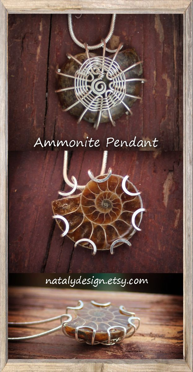 Wire Wrapped Pendant Fossil Necklace Ammonite Necklace