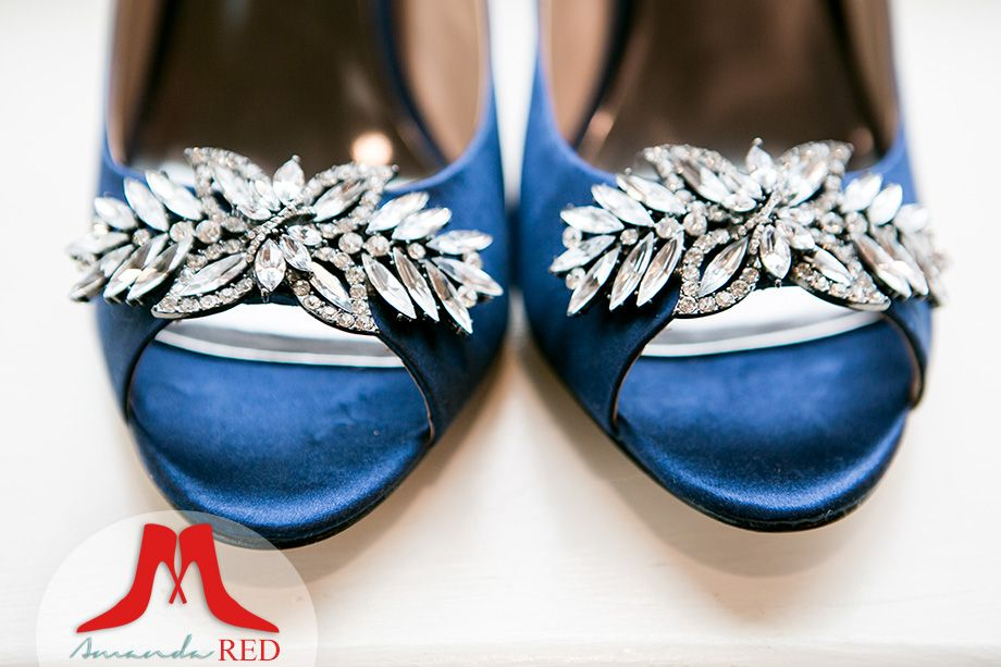 Love the jewels on these blue Badgley Mischka bridal shoes.