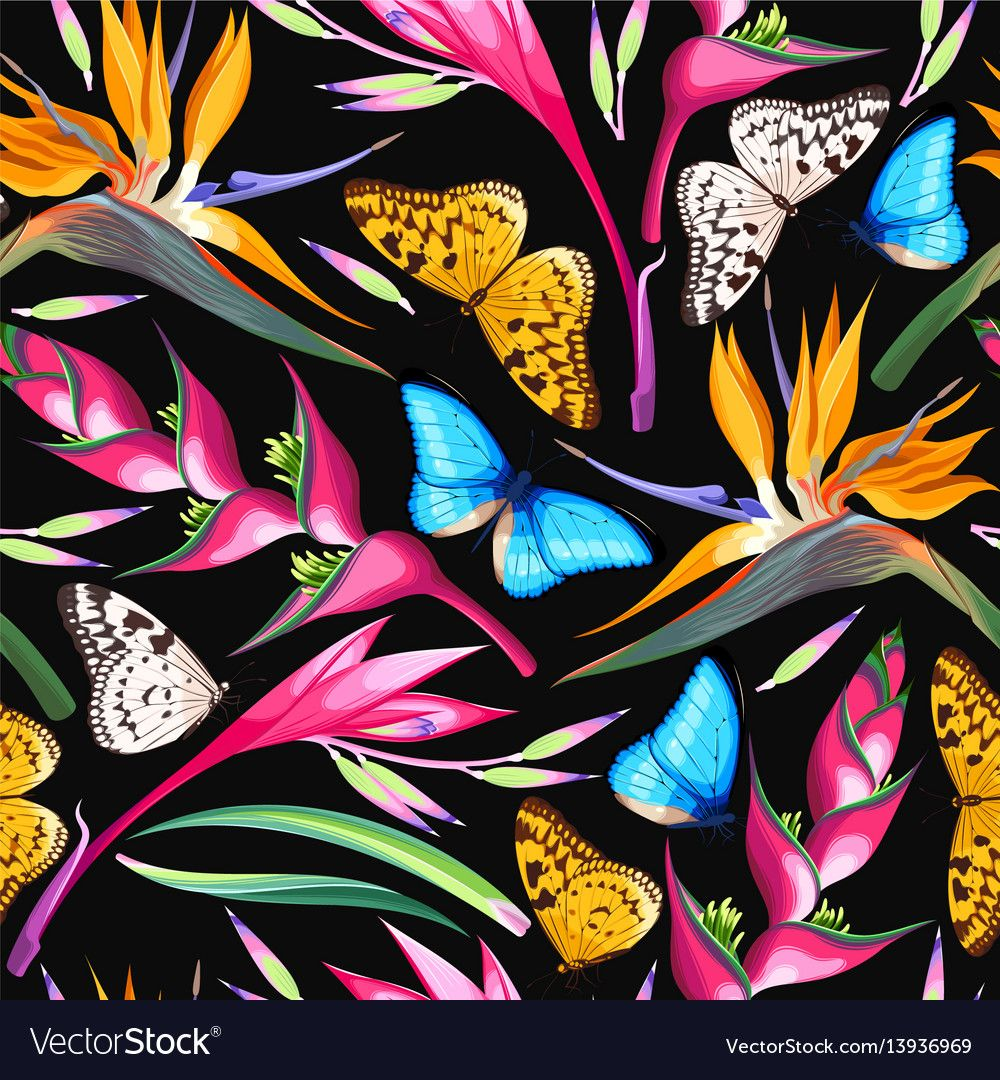 Tropical flowers seamless vector image on nel 2020
