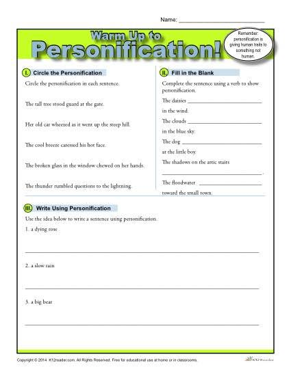 Personification Warm Up Activity | Figurative language, Language ...