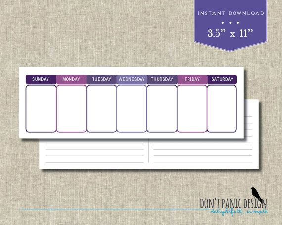 Printable Perpetual Weekly Calendar - Simple Modern Purple Daily - perpetual calendar template