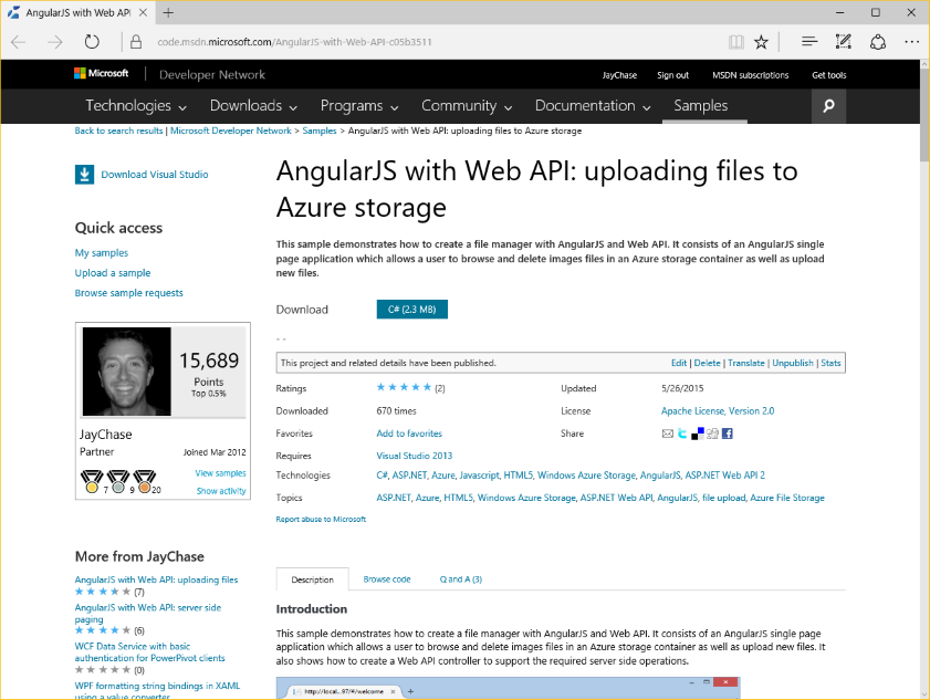 AngularJS sample application to upload and manage files in Azure