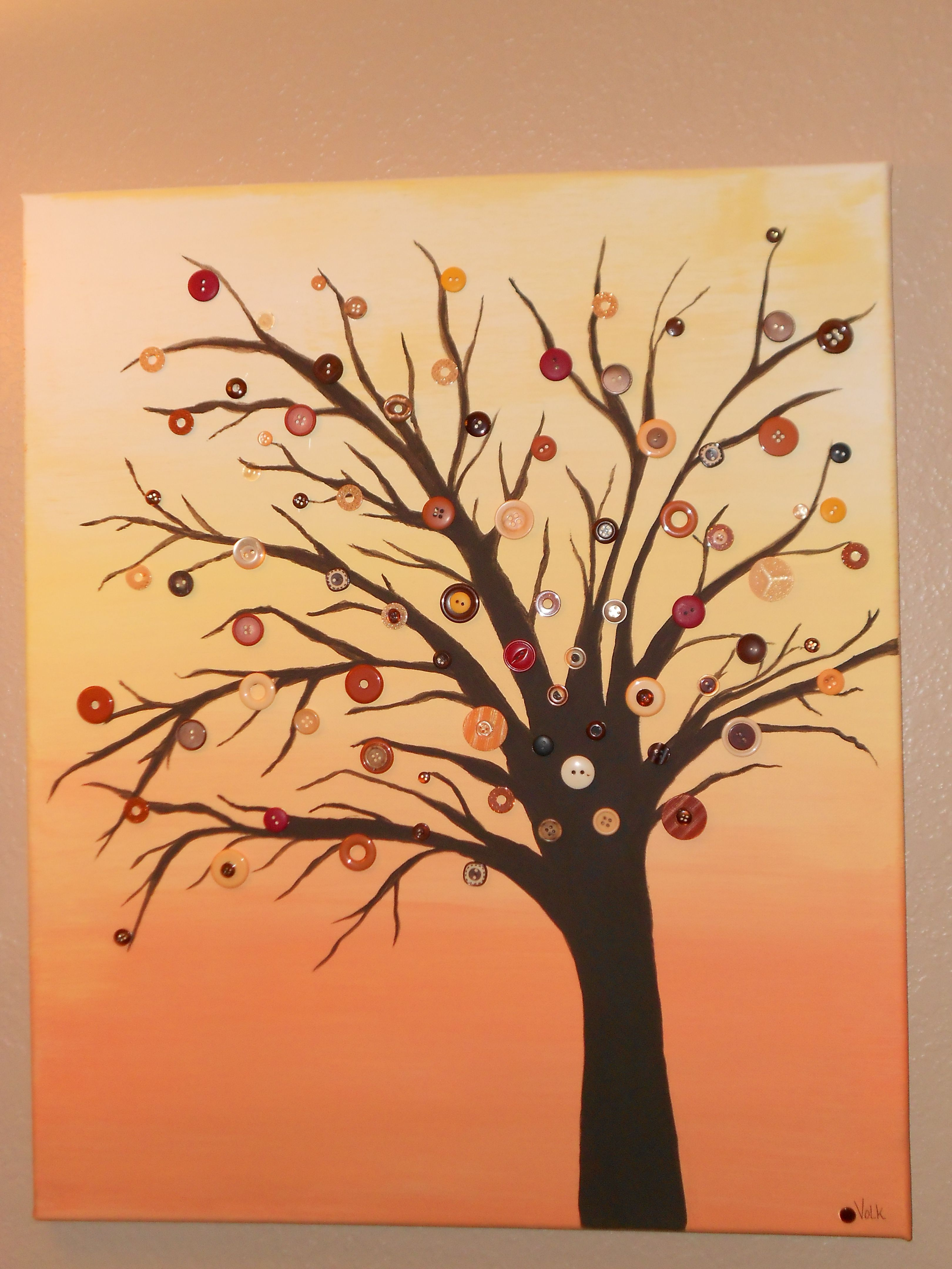 I love this! A painted tree with button leaves on canvas...I was ...