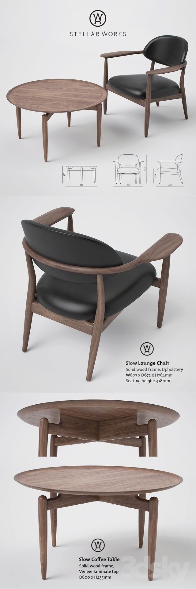 Admirable Stellar Works Slow Lounge Chair And Coffee Table 3Dsky Caraccident5 Cool Chair Designs And Ideas Caraccident5Info