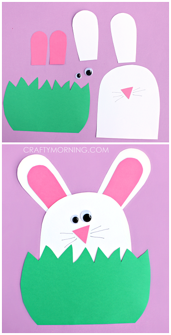 Paper Bunny Hiding In The Grass Cute Easter Craft For Kids To Make