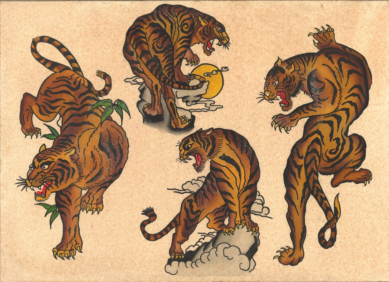 Vintage tattoo flash flash pinterest tattoo flash for American traditional tiger tattoo