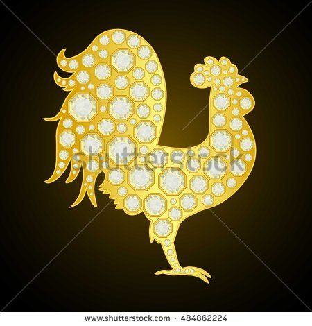 Golden Rooster with diamonds on black background Vector - new blueprint background image