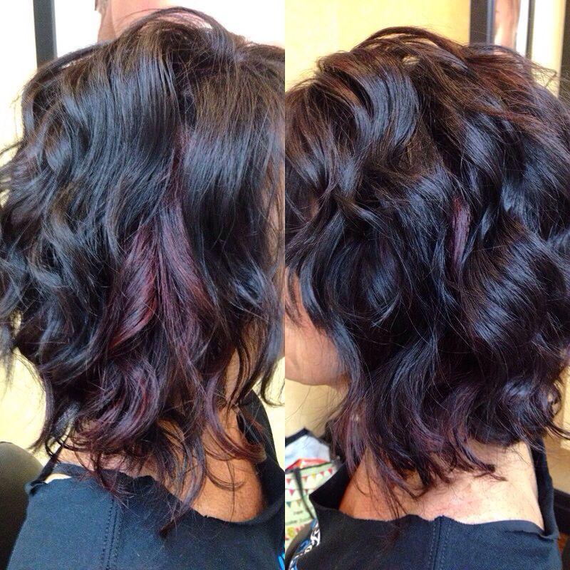 Red violet peekaboo highlights   style   Pinterest