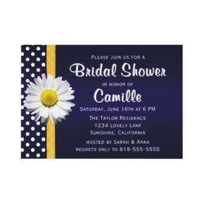 Navy Blue YellowDaisy Bridal Shower Invitation | Zazzle.com
