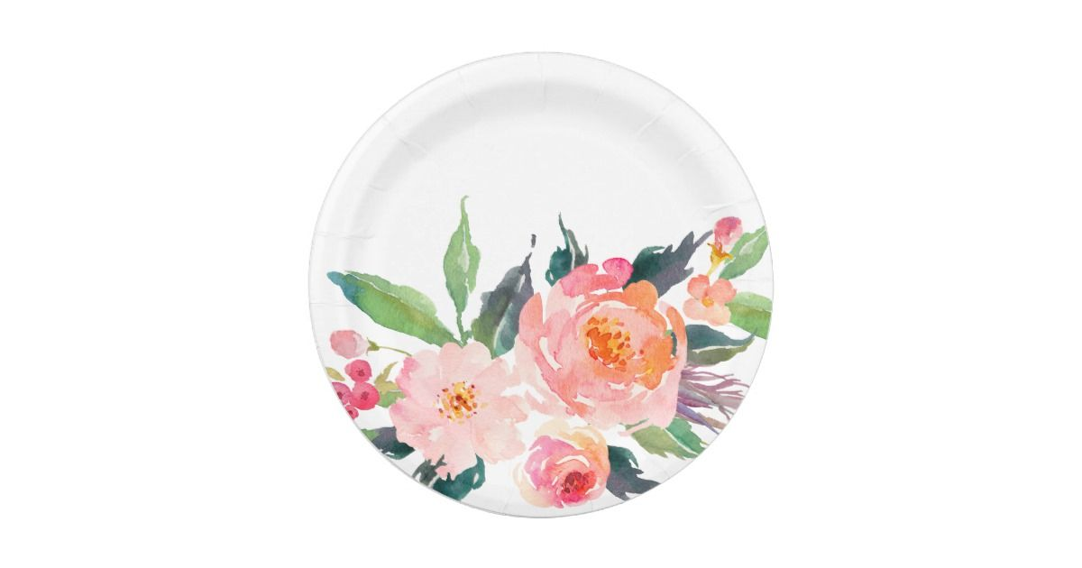 Watercolor Pink Peach Flower Bouquet Paper Plate