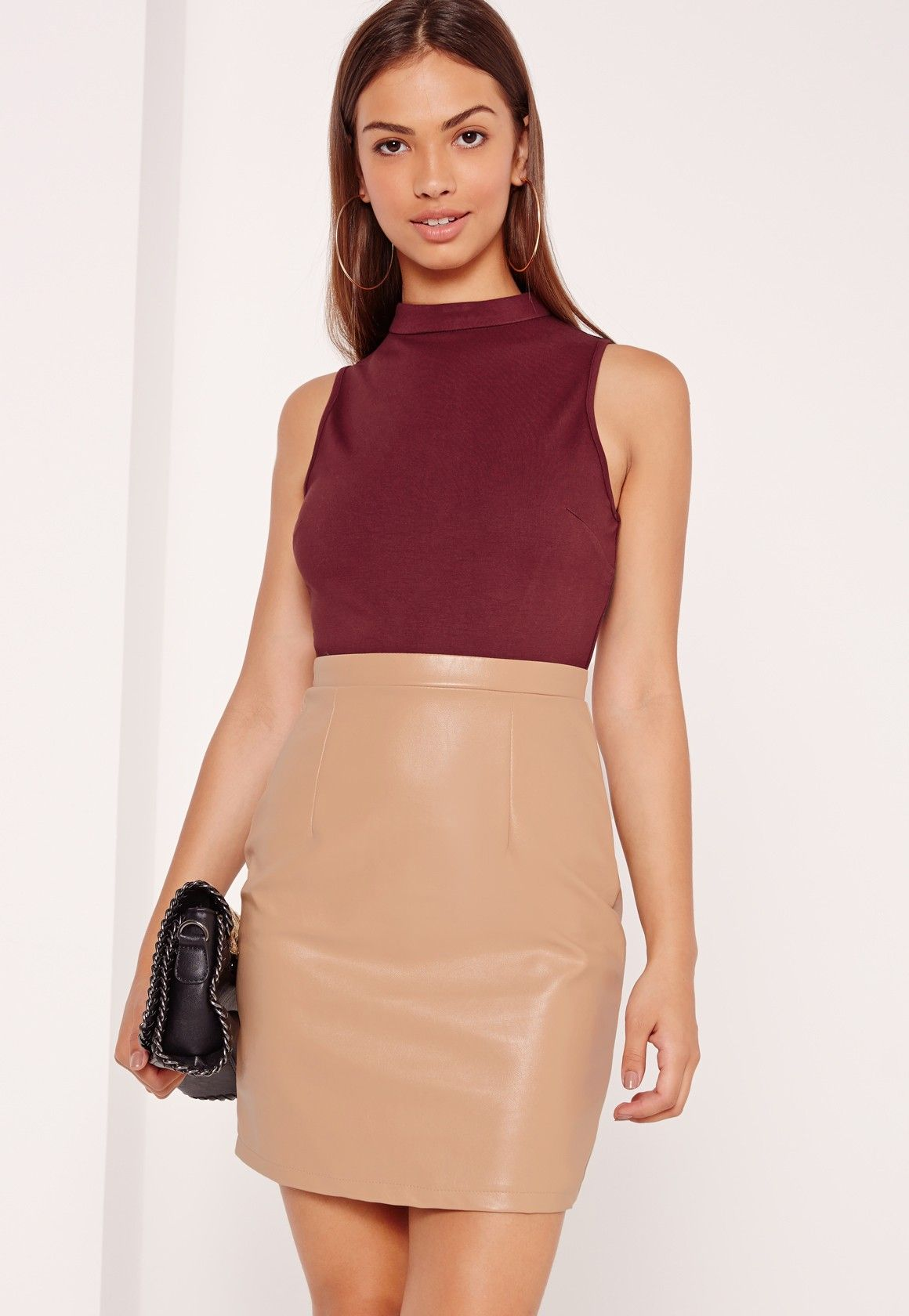 We\'re totally crushin\' on this contrast mini dress! With a burgundy ...