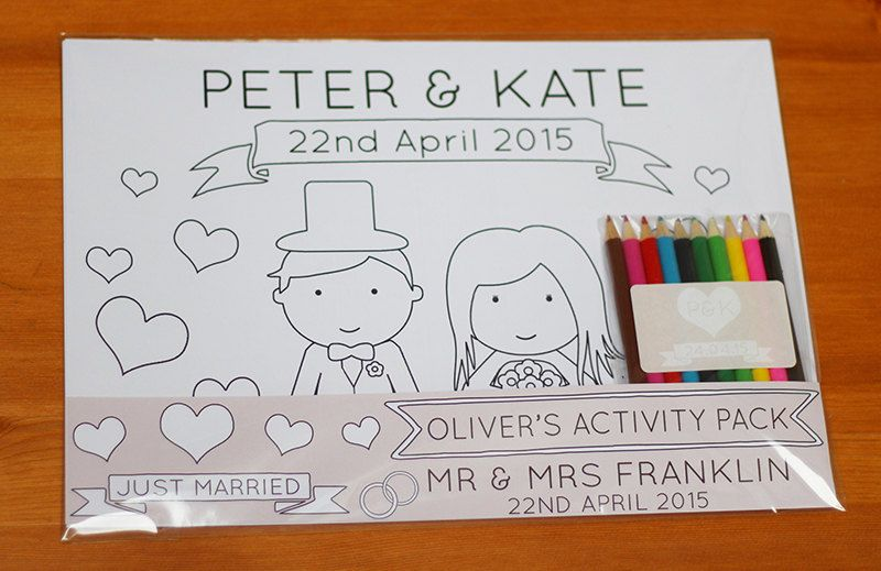 Colouring Pages Boy Girl : Personalised wedding children s activity pack page boy flower