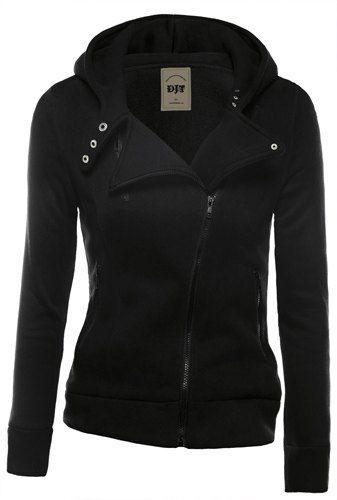 Stylish Hooded Sleeve Biker Jacket Long Zippered Slimming FTlKJc31