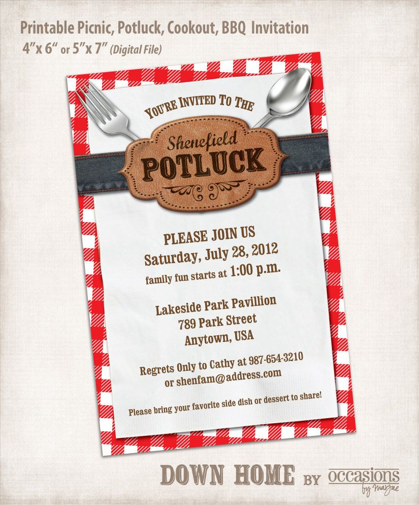 Printable Picnic, Potluck, Cookout, BBQ Invitation, Digital File, Down Home. $10.00, via Etsy.