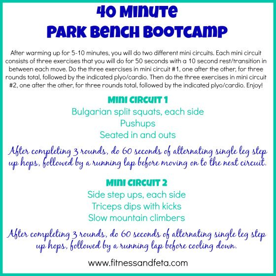 40 Minute Park Bench Bootcamp Bootcamp Fun Workouts Park Bench