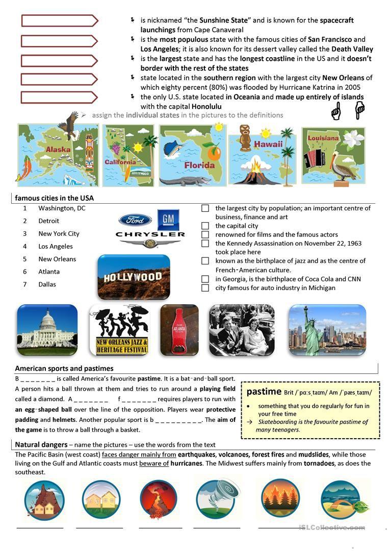 Usa English Esl Worksheets Teaching Jobs English Lessons English Language Learning [ 1079 x 763 Pixel ]