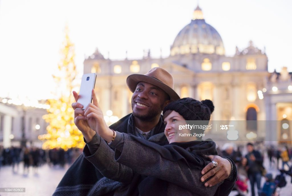 Beautiful Couple Taking Selfie At St Peters Square Rome Photography #Ad, , #Ad, #Selfie, #St, #Beautiful, #Couple