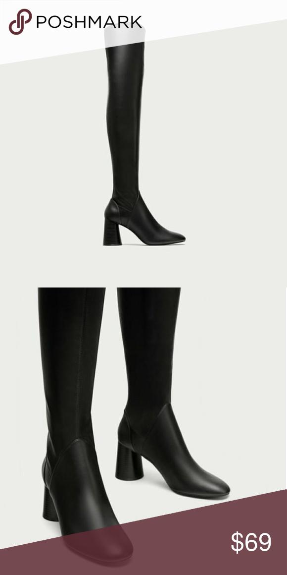 Zara Over The Knee High Heel Boot High Heel Boots High Heel Boots Knee Boots