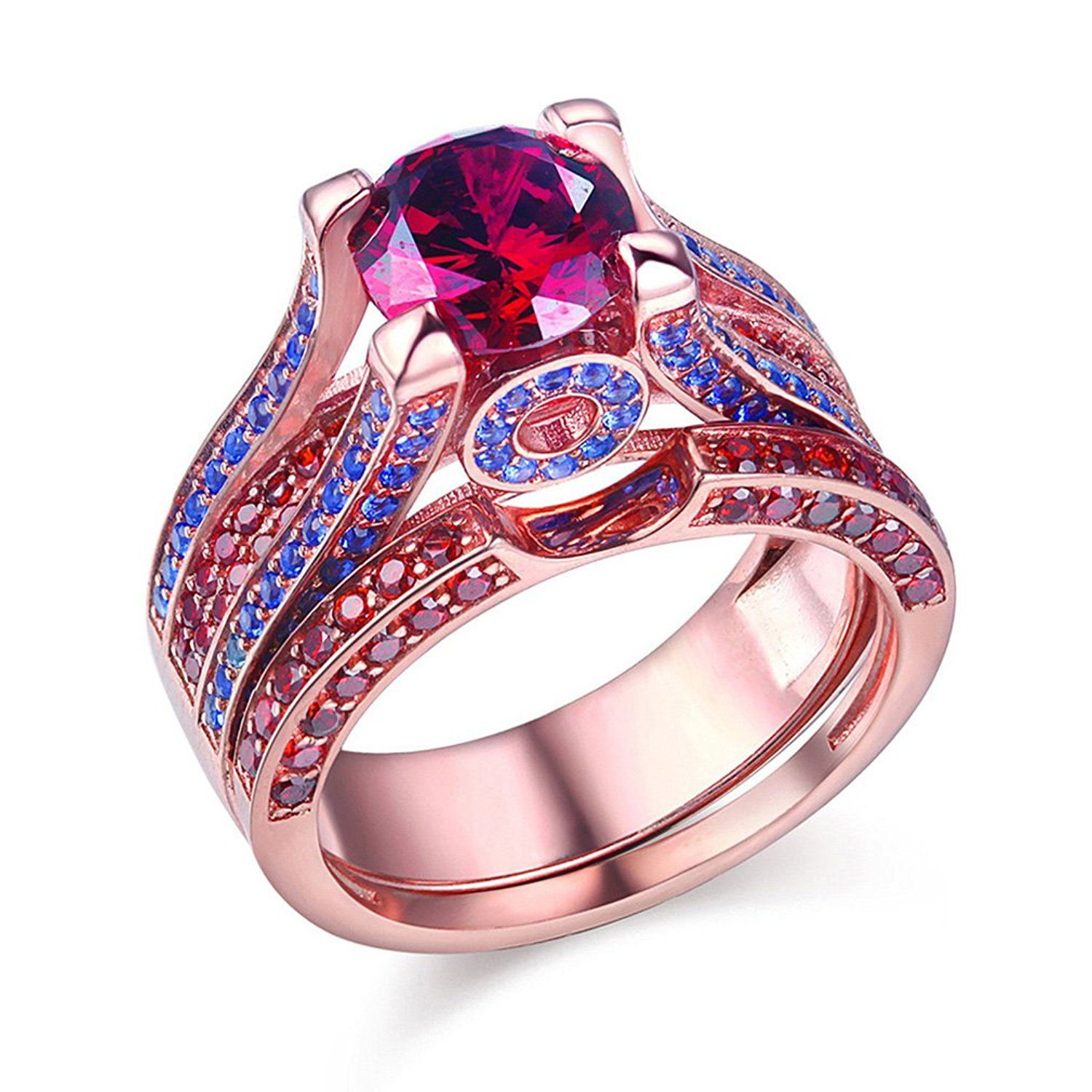 Newshe Created Red Ruby Blue Sapphire 925 Sterling Silver Wedding ...